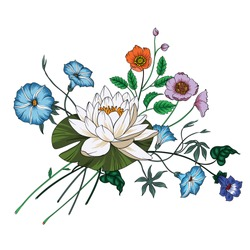 Vector bouquet of garden flowers.Blooming flowers.Wildflowers. Vector Illustration on white background