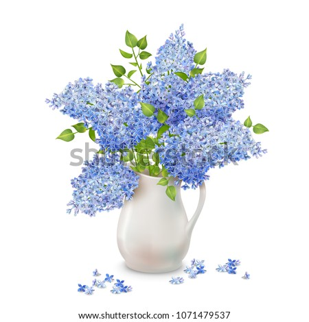 vector bouquet of lilac in a