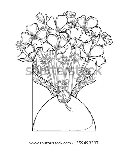 Vector bouquet of outline California poppy flower or California sunlight or Eschscholzia in black in open craft envelope isolated on white background. Contour ornate poppy for summer coloring book.