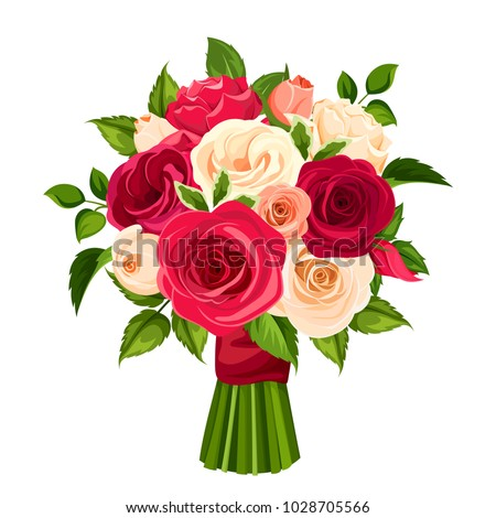 Vector bouquet of red, orange and white roses isolated on a white background. #1028705566