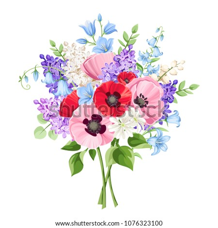 vector bouquet of red  pink