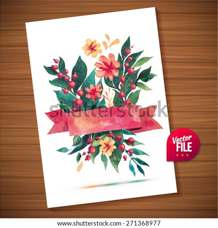 Vector bouquet  with yellow roses on white background in watercolor. Love Bright spring concept illustration with flowers in vector can be used as greeting card, invitation card for wedding, birthday