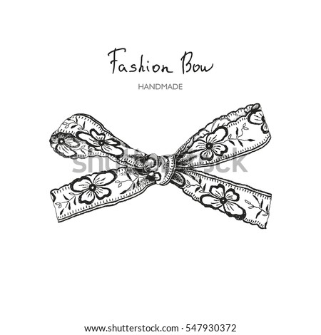 Vector bow of ribbon with flowers pansies, hand-drawn fashionable illustration in vintage style.