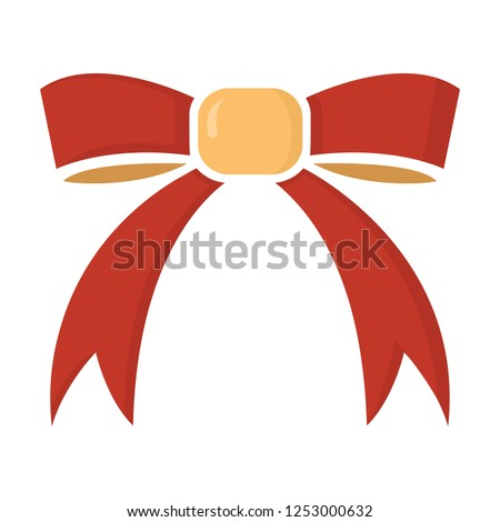 vector bow ribbon icon - ribbon bow illustration, holiday symbol - celebration element