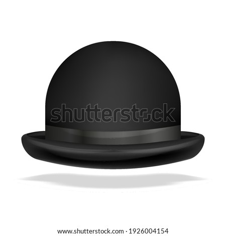 Vector bowler hat realistic isolated. 3D vector illustration isolated on white. Stockfoto ©