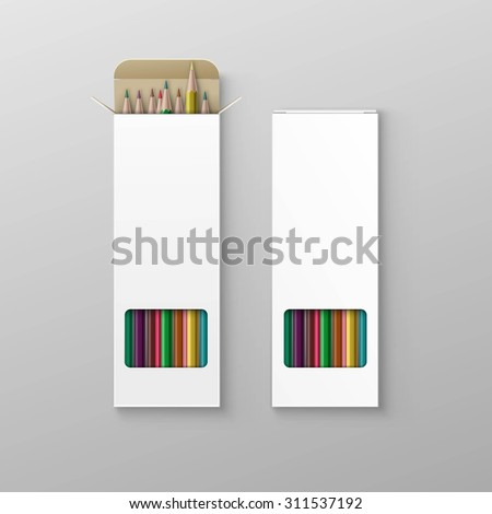 Vector Box of Colored Pencils Isolated on Background