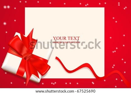 vector box with a red bow and ribbon