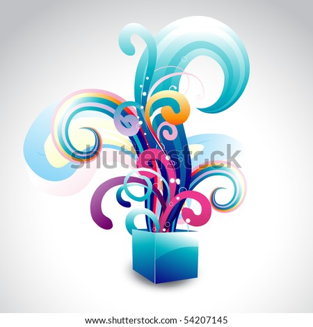 vector box with colorful floral