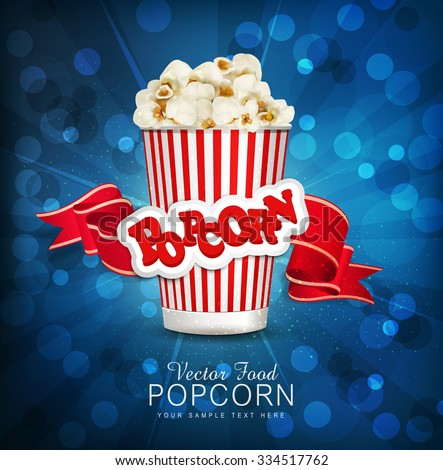 vector box with popcorn on a
