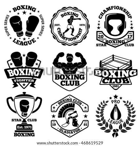vector boxing labels set with