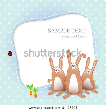 Vector boy card with text and three rabbits