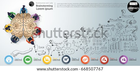Vector Brain -  Businessman and Lady Brainstorm- Background Lined pattern, graph, arrow, icon, modern design Idea and Concept - illustration Business - Idea text- Infographic template.
