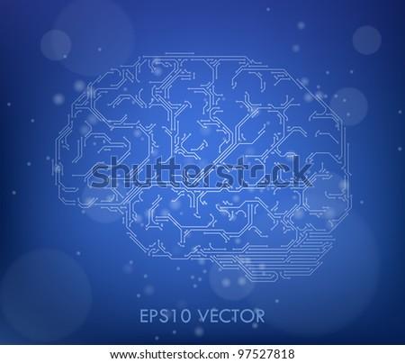 vector brain computer style