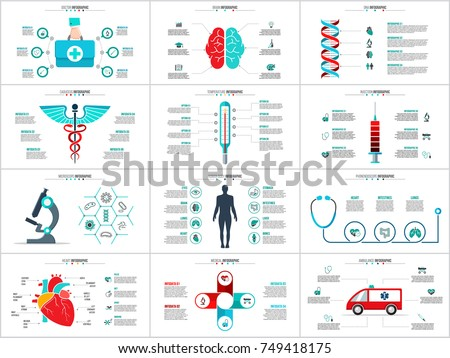 Vector brain, dna, caduceus, emergency car and other elements for infographic. Medicine concept with 4, 5 and 6 options, parts, steps or processes.