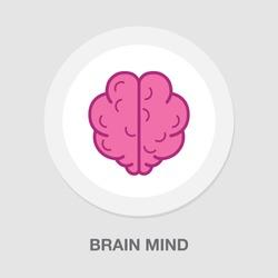 vector brain mind icon - creative mind symbol, idea concept
