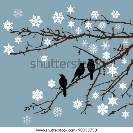 vector branches with snowflakes and birds