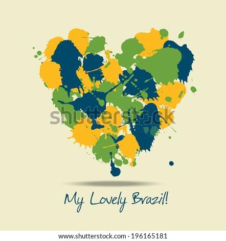Vector Brazil background. Heart illistration by blots.