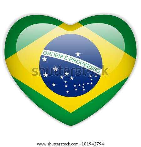 Vector - Brazil Flag Heart Glossy Button