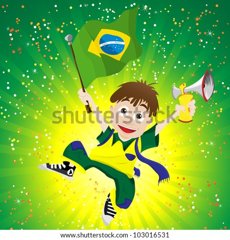 vector   brazil sport fan with