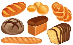 Vector bread icons set. Long loaf, rye bread, baguette, rolls, white bread, sliced bread, brioche.