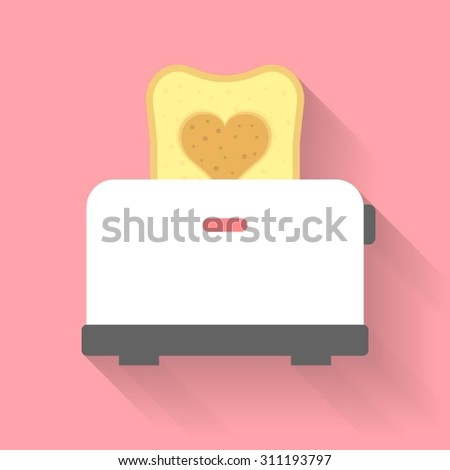 vector bread toaster with heart