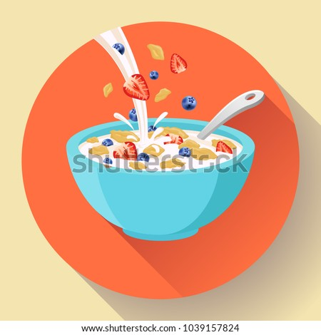 Vector breakfast cereal in bowl filled with milk and berries, flat cereal bowl icon. Breakfast icon. breakfast cereal in different flavors, breakfast icon