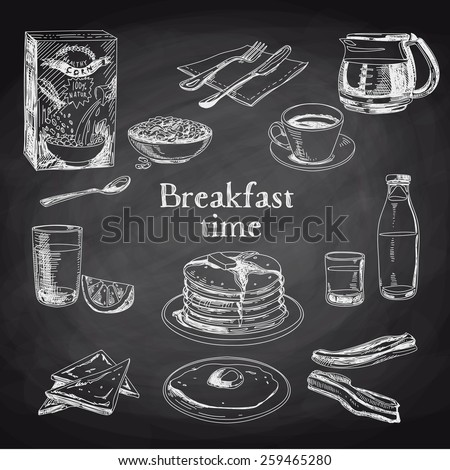 vector breakfast hand drawn set