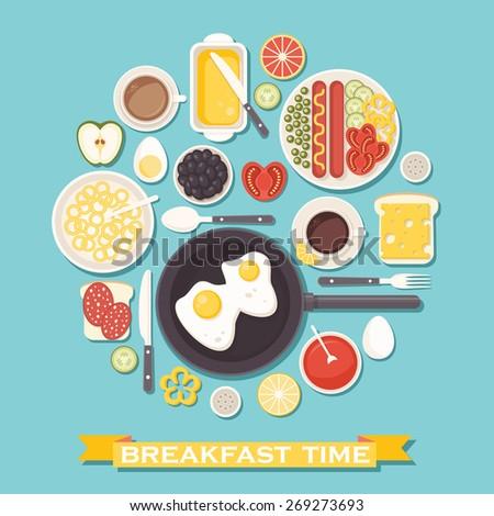 vector breakfast time