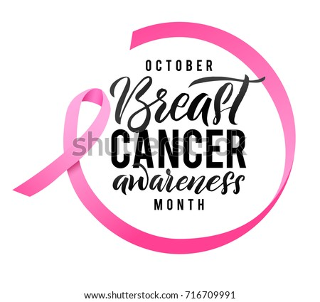 Vector Breast Cancer Awareness Calligraphy Poster Design. Stroke Pink Ribbon. October is Cancer Awareness Month.