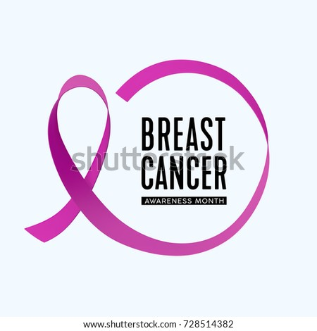 Vector Breast Cancer Awareness month icon. Pink Ribbon circle. #728514382