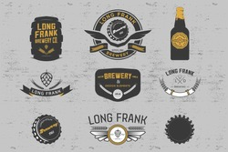 Vector brewery labels and design elements.