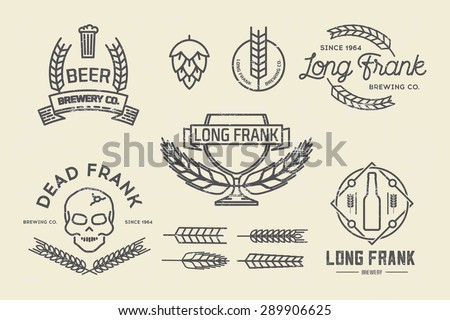 vector brewery labels and