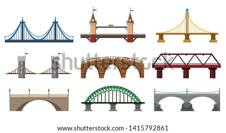 vector bridges iron bridge set