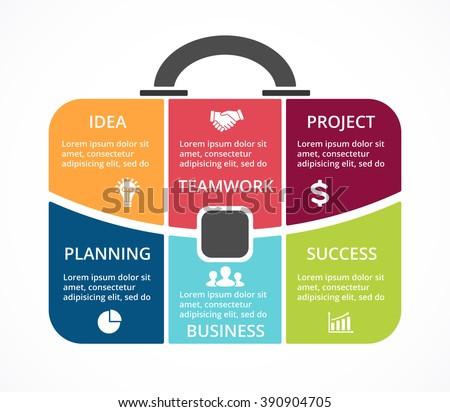 Vector briefcase infographic. Template for bag diagram, graph, presentation, round chart. Business professional portfolio with 6 options, parts, steps, processes. Travel,  tourism infographics concept