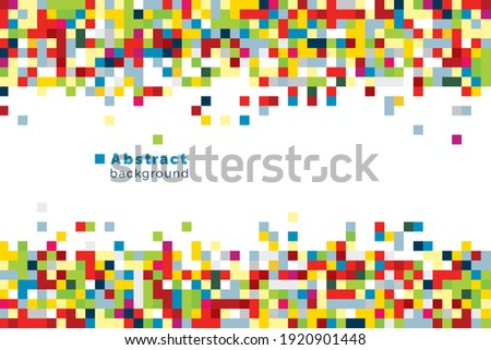 Vector bright background with colourful squares in random positions. Abstract banner in pixel style mosaic. Multicolour geometric cover for web. Modern wallpaper Foto stock ©
