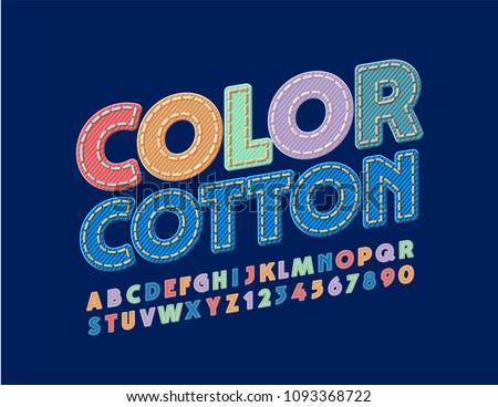vector bright color cotton font