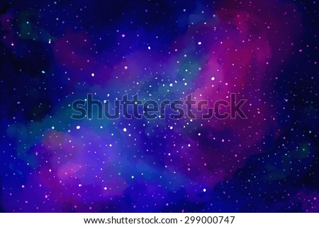 Vector bright colorful cosmos illustration. Abstract cosmic background with stars.