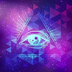 Vector bright colorful cosmos illustration. Abstract cosmic background with stars. Hand-drawn Eye of Providence. Alchemy, religion, spirituality, occultism, tattoo art. Conspiracy theory.
