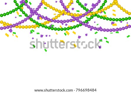 Vector Bright Colorful scattered seamless paper confetti border isolated on white background. Bright beads. Falling particles for Carnival, Mardi Gras, Holiday decoration.