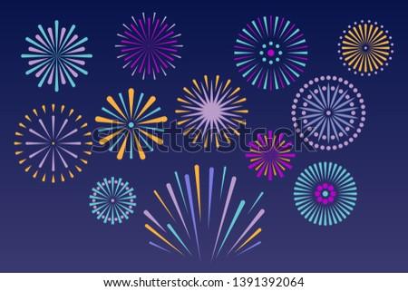 Vector bright fireworks isolated on dark background. Independence anniversary festival firework celebration. Celebration design for holidays.