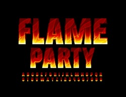 Vector bright flyer Flame Party with creative Fire Font. Burning Alphabet Letters and Numbers for poster