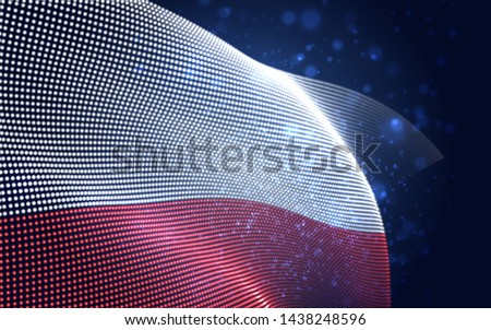 Vector bright glowing country flag of abstract dots. Poland