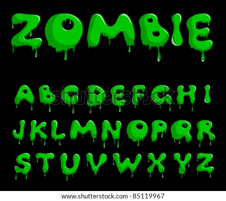 Vector bright green alphabet on a black background