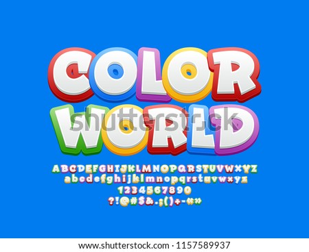 Vector bright Logo Color World with Font. Children cute  Alphabet Letters Set