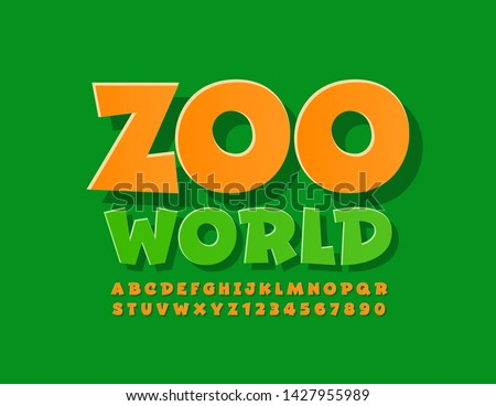 Vector bright logo Zoo World with Orange Uppercase Font. Comic style Alphabet Letters and Numbers