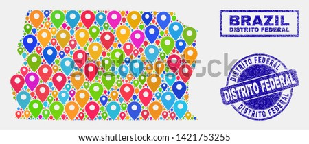 Vector bright mosaic Brazil Distrito Federal map and grunge watermarks. Flat Brazil Distrito Federal map is composed from random bright navigation icons. Watermarks are blue,