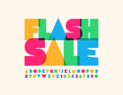 Vector bright poster Flash Sale with trendy Alphabet Letters and Numbers. Stylish Colorful Font
