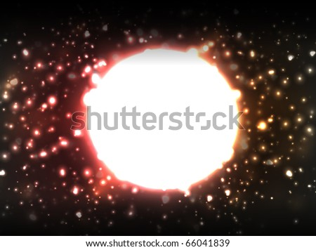 Vector bright red sun, surrounded by bright and blurry galaxy of stars on black background.