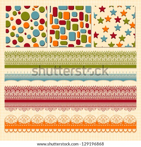 Vector bright seamless paterns and seamless lacy ribbons, fully editable eps 10 file, seamless patterns in swatch menu