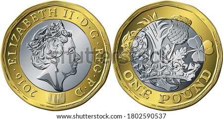 Vector British money coin one pound new 12-sided design Rose, leek, thistle and shamrock encircled by coronet on reverse and Queen on obverse